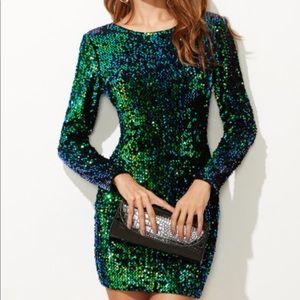 Green sequin homecoming dress